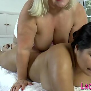 Old masseuse with big tits licks pussy
