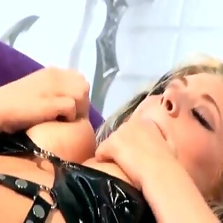 chesty babe drills in fishnets and spandex lingerie