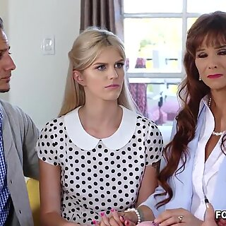 Foster teen Megan Holly has recently become sexually active to her foster parents. Watch her as she enjoys an awesome family threesome session.